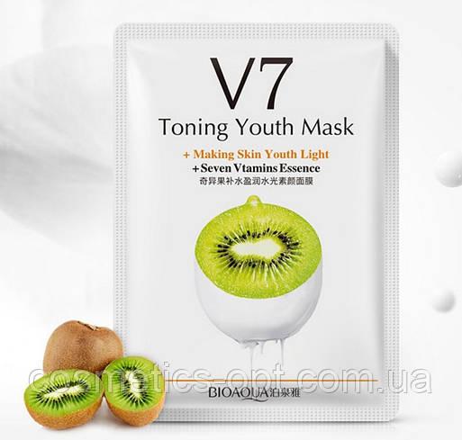 Витаминная тканевая маска BIOAQUA V7 Toning Youth Mask с киви