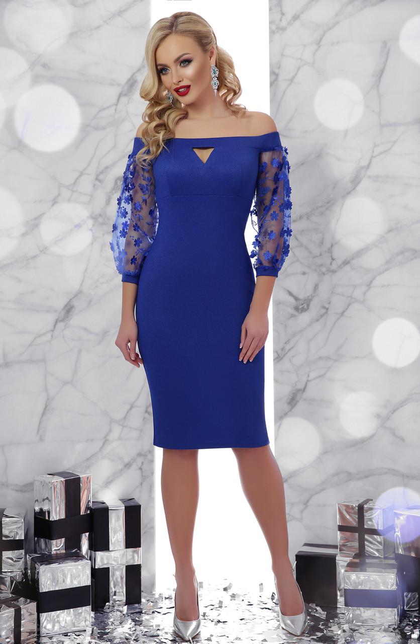Коктейльное платье синее с открытыми плечами
