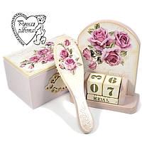 Набір Троянди гребінець, скринька, вічний календар ручної роботи