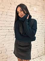 """Вязаный женский свитер """"Арчи"""", темно-зеленый, фото 1"""