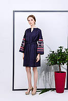 Темно-синее платье с вышивкой в этническом стиле, фото 1