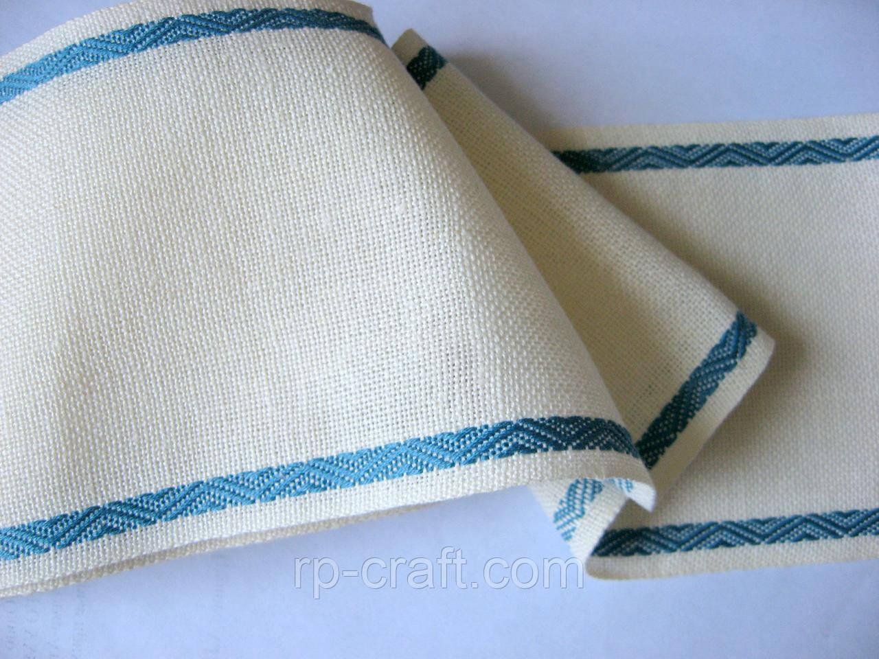 Лента для вышивки. Молочная, с синим тканым узором, 10  см, длина 2,67 метра