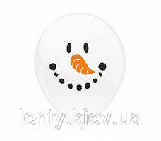 """Воздушные шарики с рисунком """"Снеговик"""", 12' (30 СМ), Поштучно"""