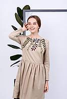 Осеннее вышитое платье с растительным орнаментом, фото 1