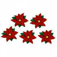 2951 Декоративные пуговицы. Красная пуансетия