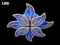 Светодиодная люстра с пультом-диммером и синей подсветкой белая 8028-4+4
