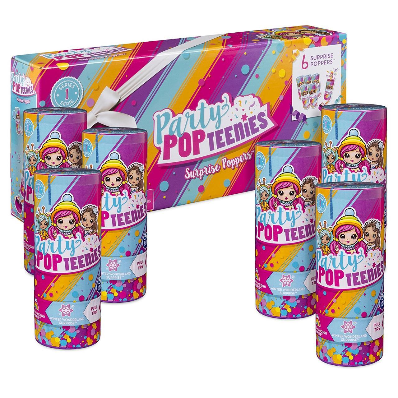 Набор Party Popteenies: 6 штук куколки, хлопушка-сюрприз, Spin Master из США