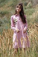 Розовое вышитое платье с растительным орнаментом, фото 1