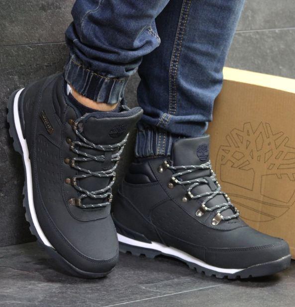 35e12b6c787c Мужские ботинки зимние Timberland, кожа нубук, внутри мех, темно-синие,  Тимберленд 2018