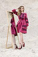 Малиновое современное вышитое платье с цветочным орнаментом, фото 1