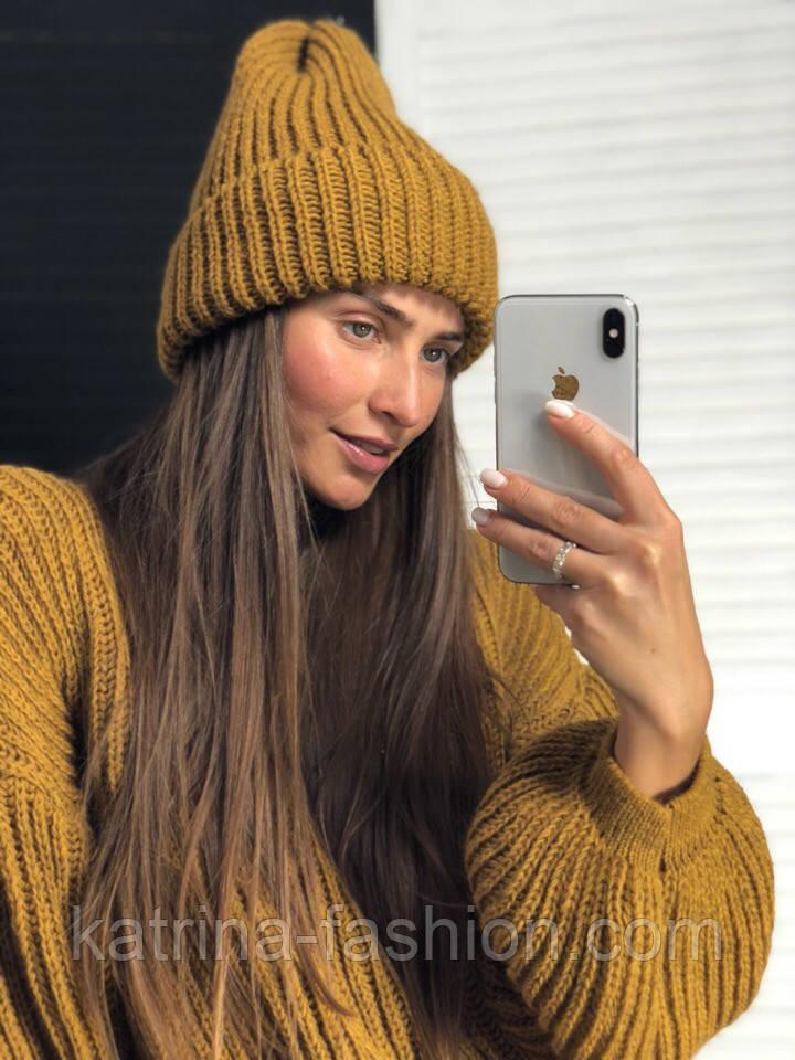 Женская шапка объемной вязки (4 цвета)