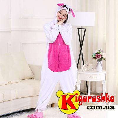 Новинка Пижама костюм кигуруми для взрослых. Зайчик белый малиновый животик b076a606227cc