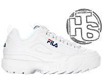 Женские кроссовки Fila Disruptor II 2 Leather White Winter (с мехом) FW01655-111