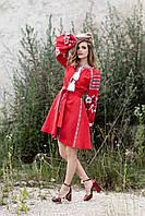 Красное вышитое платье до колен с цветочным орнаментом из льна, фото 1