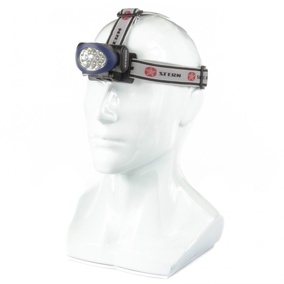 Фонарь налобный, светодиодный, 3 режим, 10LeD, 3 х ААА. STERN 90562