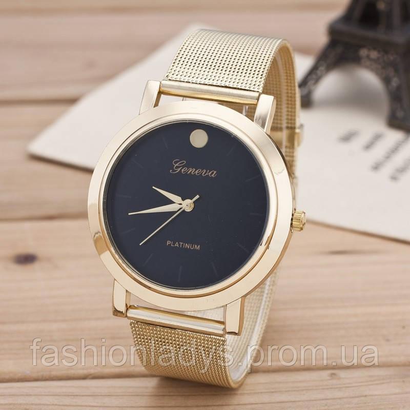 Часы женские Geneva Platinum Dot с Черным циферблатом