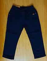 Темно-синие котоновые брюки на флисе для мальчика, р.4