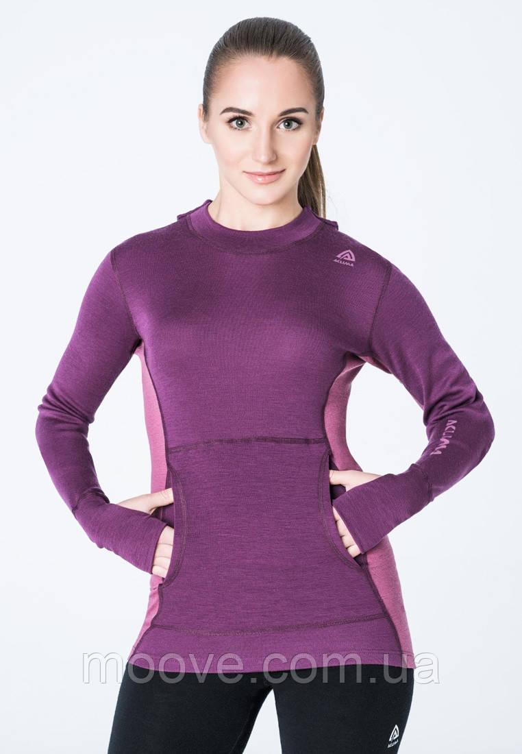 Aclima WarmWool Hood Sweater Woman S grapewine/damson