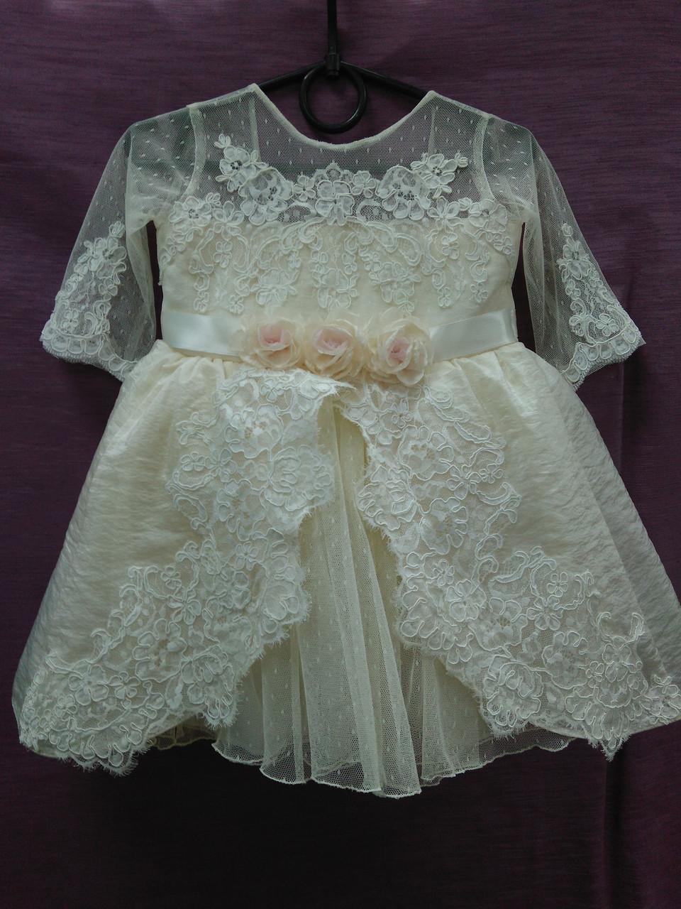 Платье детское нарядное бежевое Принцесса на 1-3 года