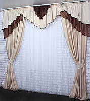 Комплект шторы с ламбрекеном на карниз 3м. Код 090лш299, фото 1