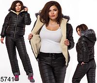 Зимний костюм большого размера с мехом черный 825741