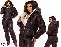 Лыжный батальный костюм на синтепоне коричневый 825742