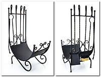 Кованный каминный набор квадратное сечение (подставка-дровница, кочерга, совок, щетка, щипцы) FM-0040, фото 1
