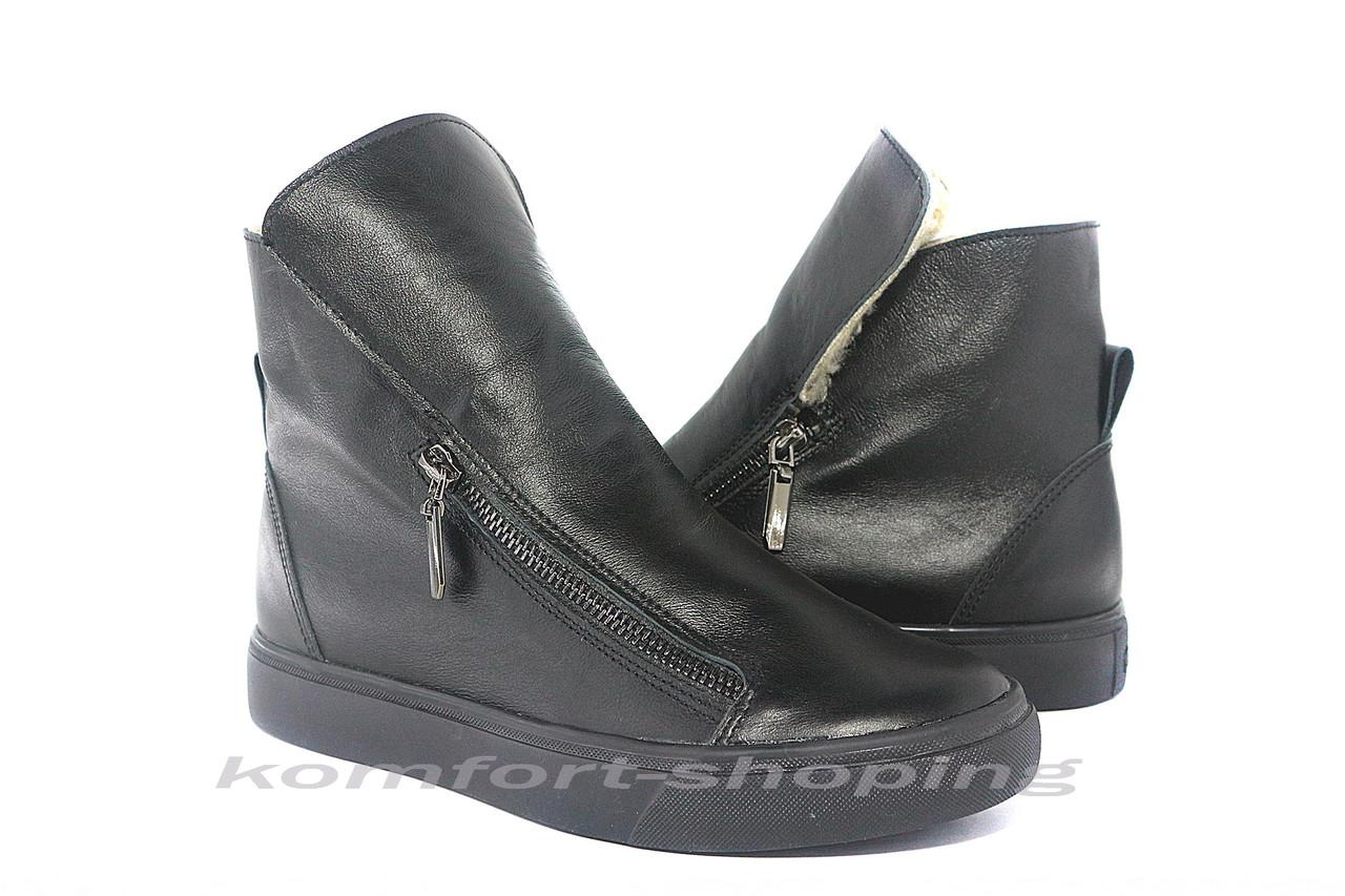 Ботинки женские , черные кожаные   V 1215