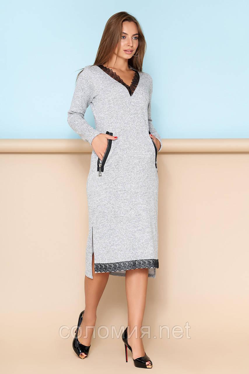 543b49c6555 Стильное трикотажное платье с кружевной отделкой 44-54р  продажа ...
