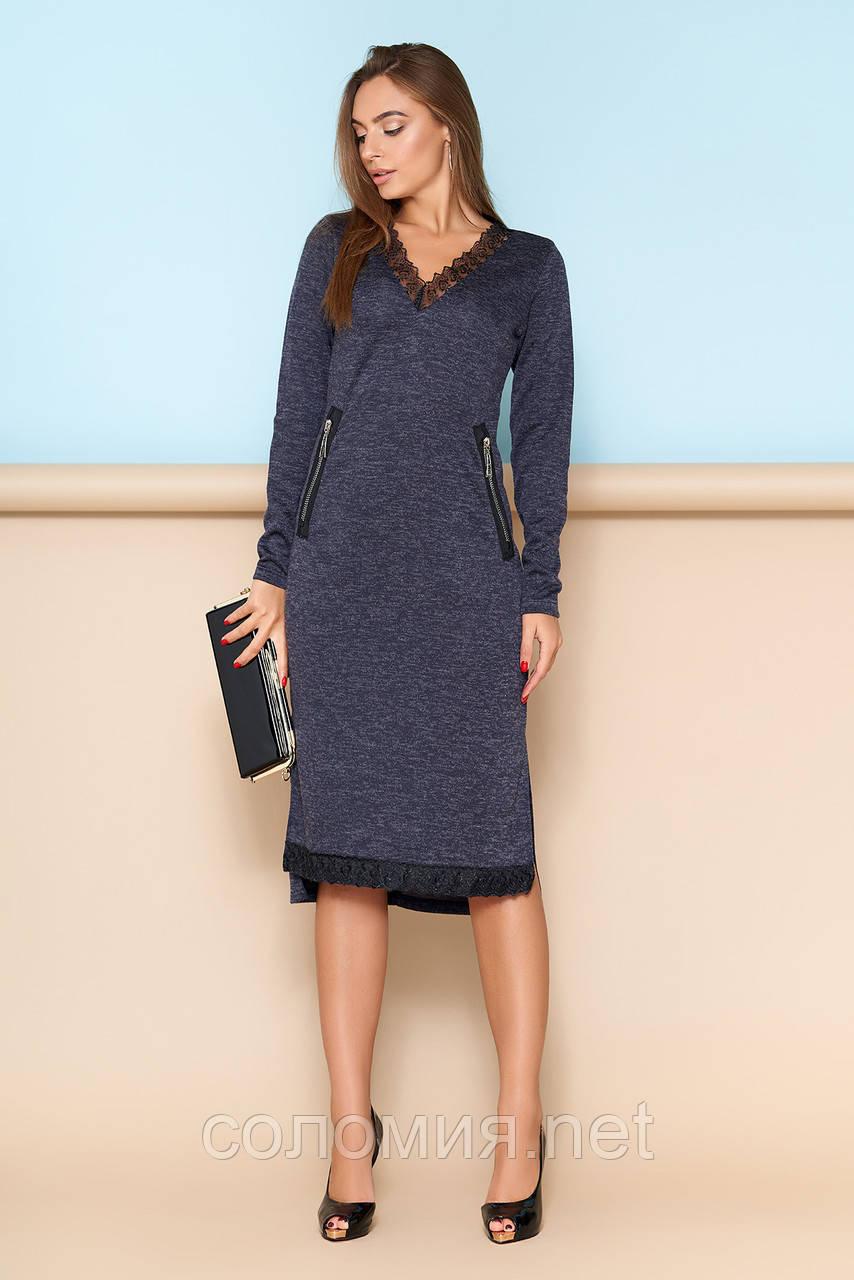 Модное трикотажное платье с кружевной отделкой  44-54р