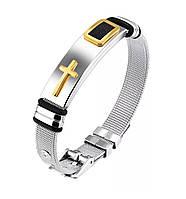 Мужской браслет из нержавеющей стали с плетёным браслетом  «Mystery» с золотым крестом