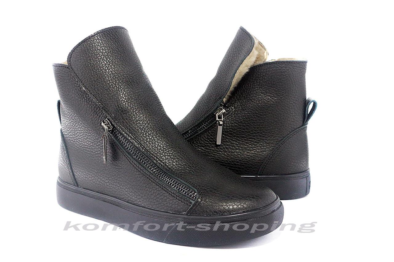 Ботинки женские, черные кожаные, флотар   V 1215
