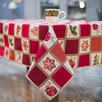 Скатерть гобеленовая Новогодняя Испания Villa Grazia Premium Новогодний Пэчворк 140x220 см