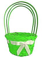 Корзины из лозы, набор из 3 шт (14278, зеленый) 24х16 см