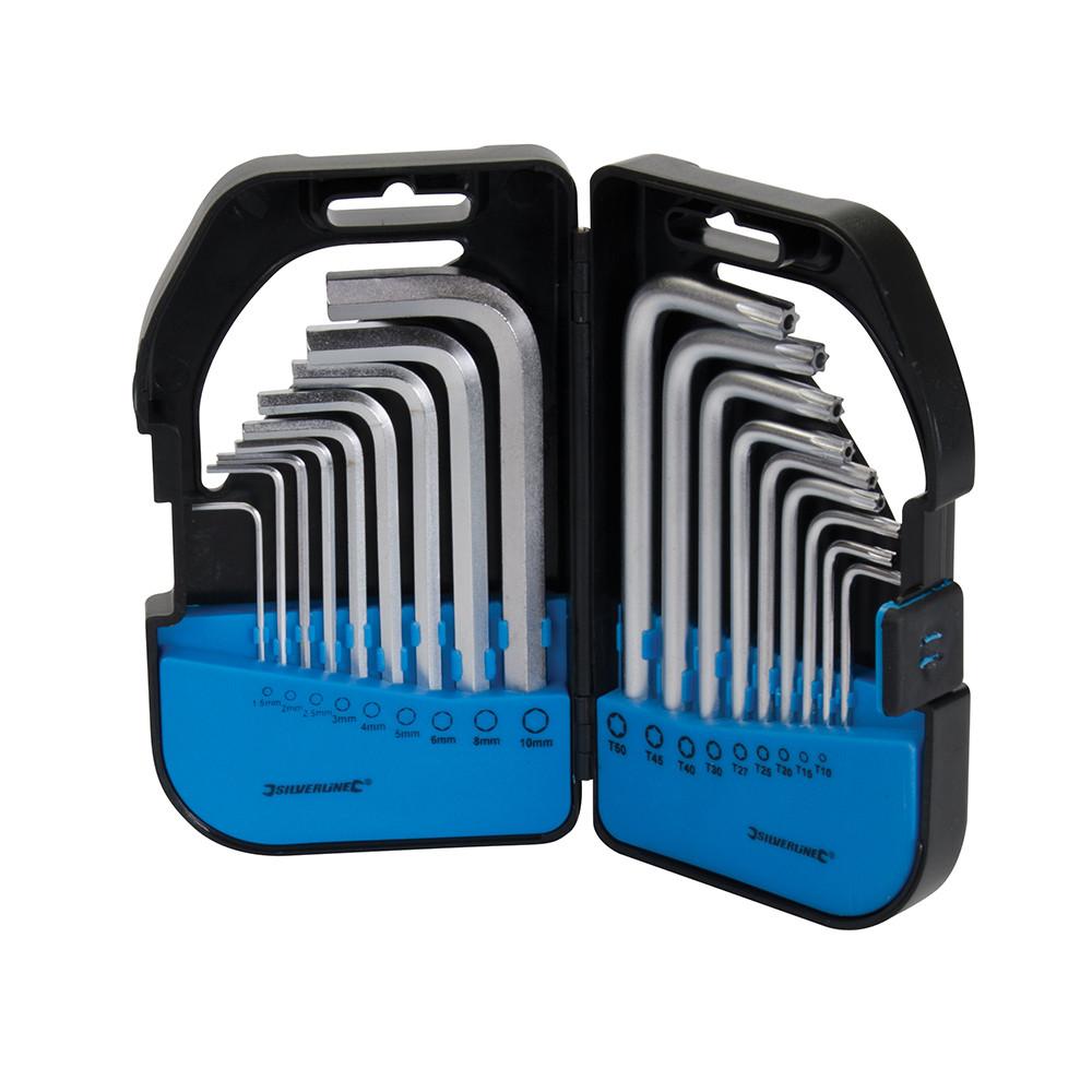Набір шестигранних ключів T9 -T50, 18 шт., Silverline, 8204110000