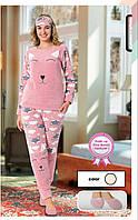 Пижама женская теплая махра и флис на манжете с тапочками
