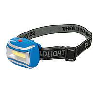 Ліхтар налобний, світлодіодний,  3W COB LED Headlamp, 80lm, 3хААА, без батарейок, Silverline