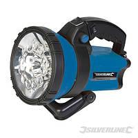 Ліхтарик світлодіодний 12 led, акумуляторний, 145lm, зарядка 220В та 12В прикюрювач, Silverline