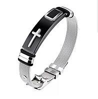 Мужской браслет из нержавеющей стали с плетёным браслетом «Mystery» черный с крестом