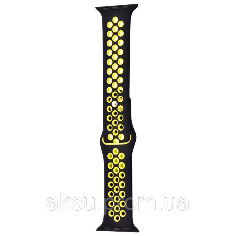 Ремешок для Apple Watch 42mm/44mm Sport Band Nike+ (Black Yellow)