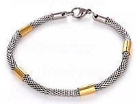 Мужской плетенный  браслет из нержавеющей стали с плетёным браслетом «Snake» и золотыми вставками