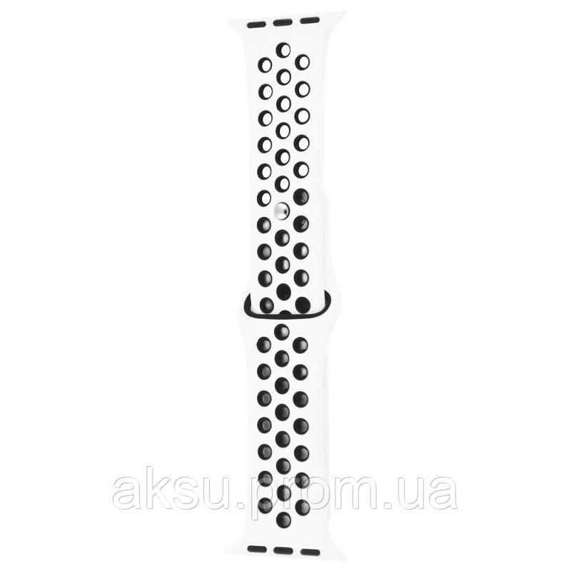 Ремешок для Apple Watch 42mm/44mm Sport Band Nike+ (White Black)
