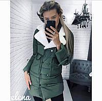 Куртка женская с меховым воротником очень теплая в трех цветах, фото 1