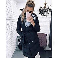 Женская куртка с меховым воротником на синтепоне, фото 1