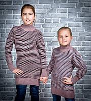 Детские вязанные туники для девочек