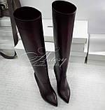 Жіночі шкіряні чоботи на шпильці забарвлення марсала, фото 3