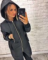 Женская демисезонная удлиненная куртка с капюшоном, фото 1