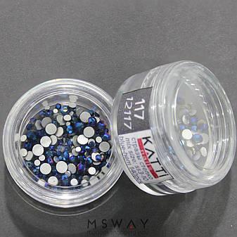 KATTi Стразы стекло в баночке Тон 117 blue hematite ss3-ss10 140шт, фото 2