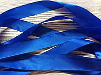 Лента атласная 2,5см Синяя светлая 5м