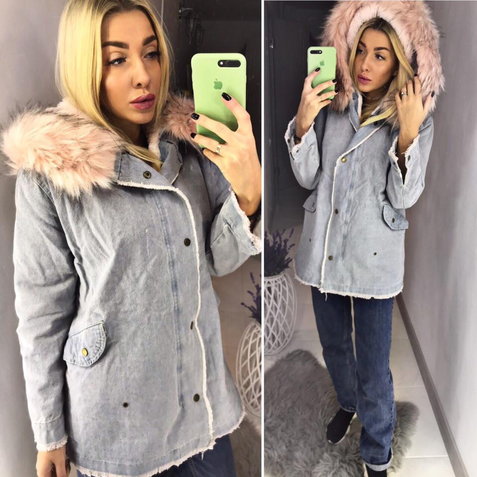 cfcbcdf5 Теплая длинная джинсовая куртка (с мехом внутри ) - Интернет-магазин модной  одежды